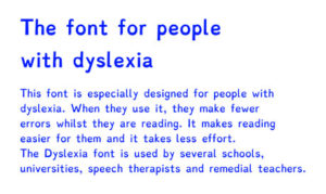 Example of dyslexie font