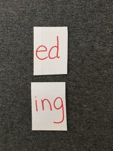 "Image of card with ""ed"" and a card with ""ing"""